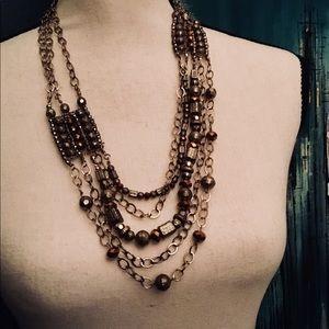 Hammered Gold Copper & Topaz Necklace & Bracelet